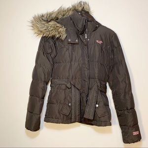 Hollister | Brown Belted Down Coat With Fur Hood S